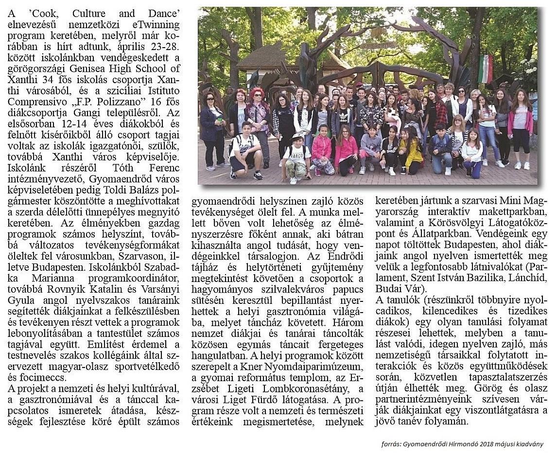 Görög és olasz diákok iskolánkban
