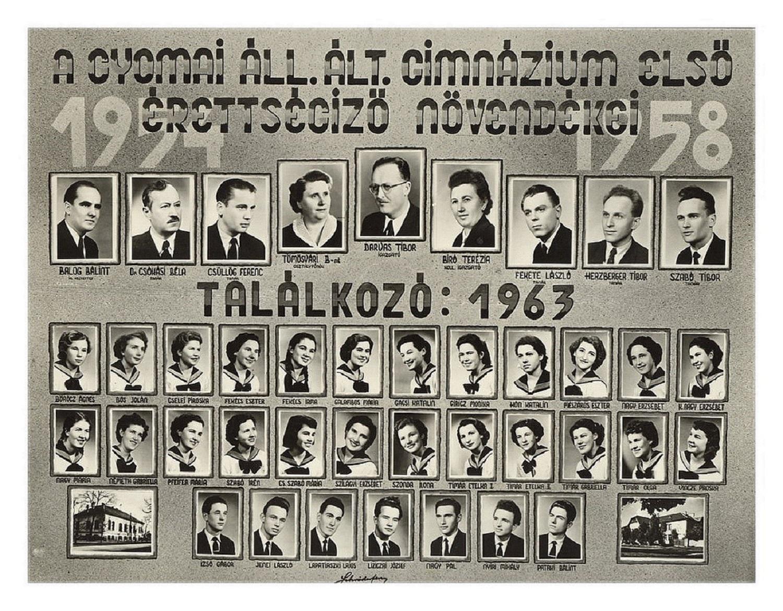 1958 első érettségiző növendékei